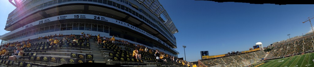 Kinnick Stadium panorama wide screen press box wall of honor