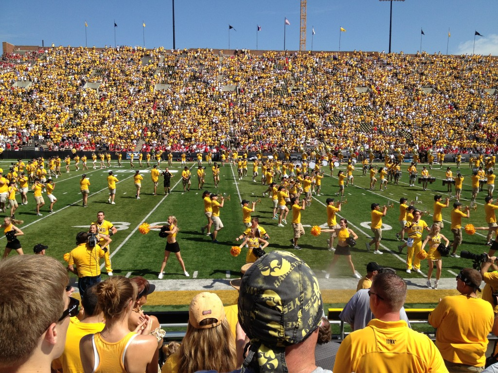 Iowa Hawkeye football pregame band cheerleaders