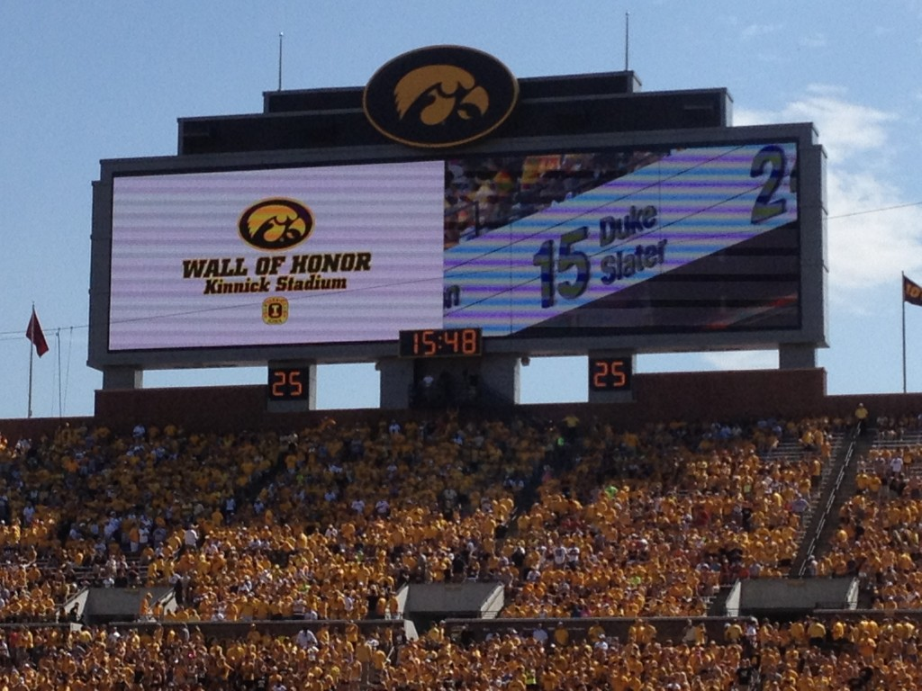 Kinnick Stadium Wall of Honor Brechler Press Box scoreboard