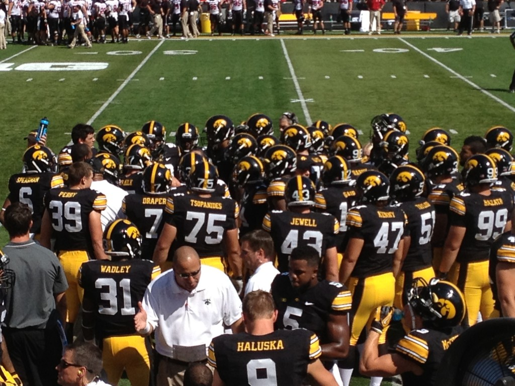 Iowa Hawkeye football huddle swarm pregame